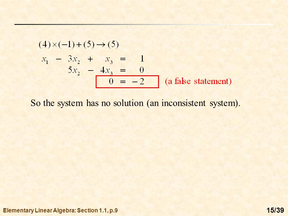 Consistent and Inconsistent Systems of Equations