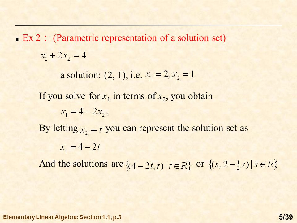 Chapter 1 Systems of Linear Equations - ppt video online download