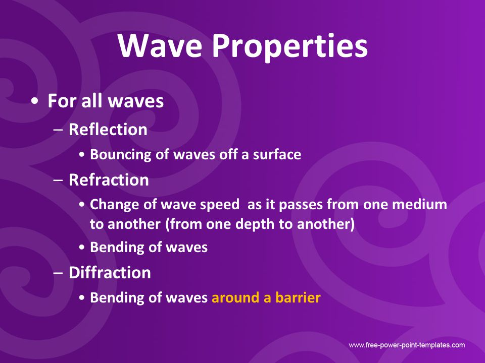 Wave Properties For all waves Reflection Refraction Diffraction