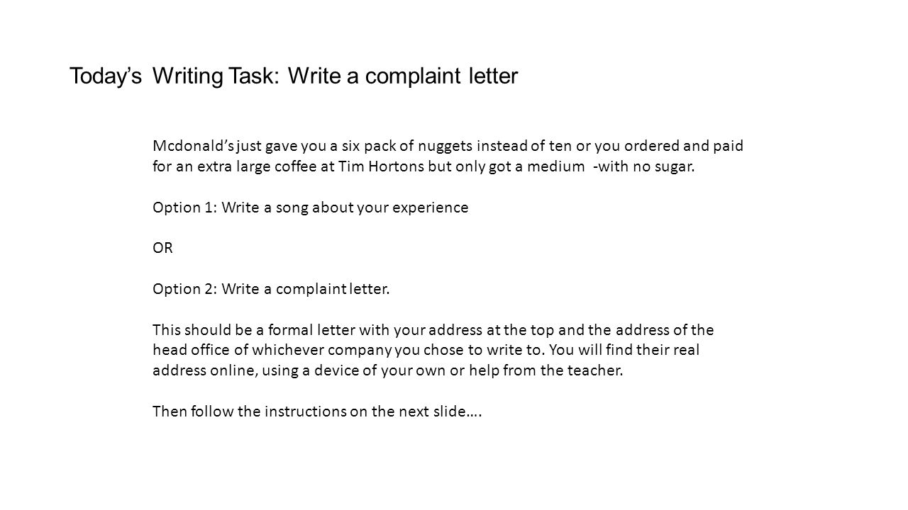 Todays writing task three wishes ppt video online download todays writing task write a complaint letter aljukfo Image collections