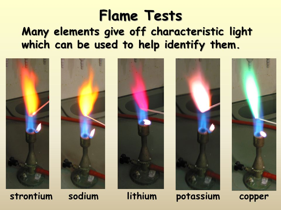 Flame Tests Many elements give off characteristic light which can be used to help identify them. strontium.