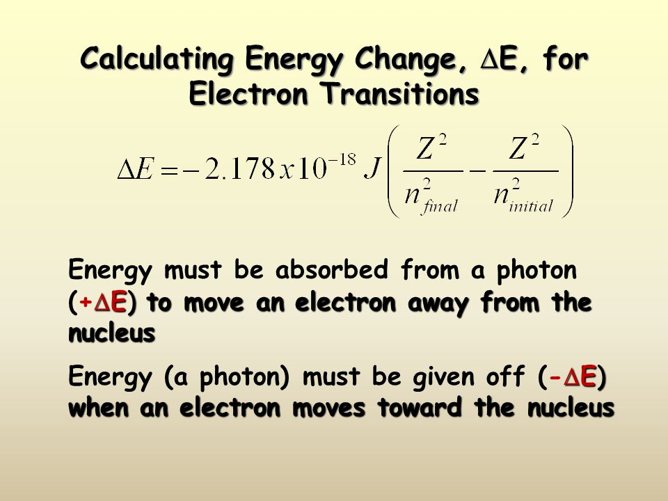 Calculating Energy Change, E, for Electron Transitions