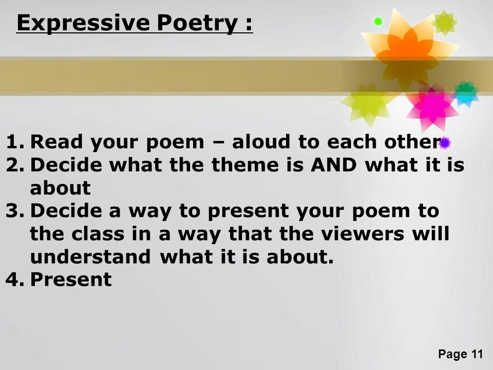 Expressive Poetry : Read your poem – aloud to each other