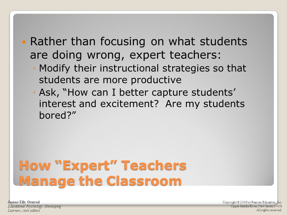 How Expert Teachers Manage the Classroom