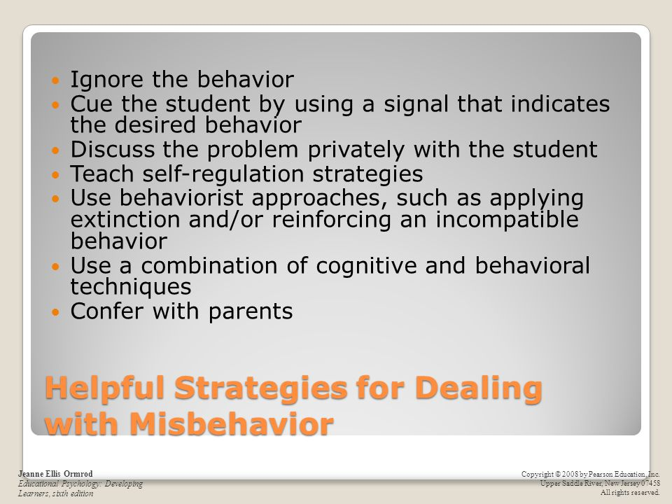 Helpful Strategies for Dealing with Misbehavior