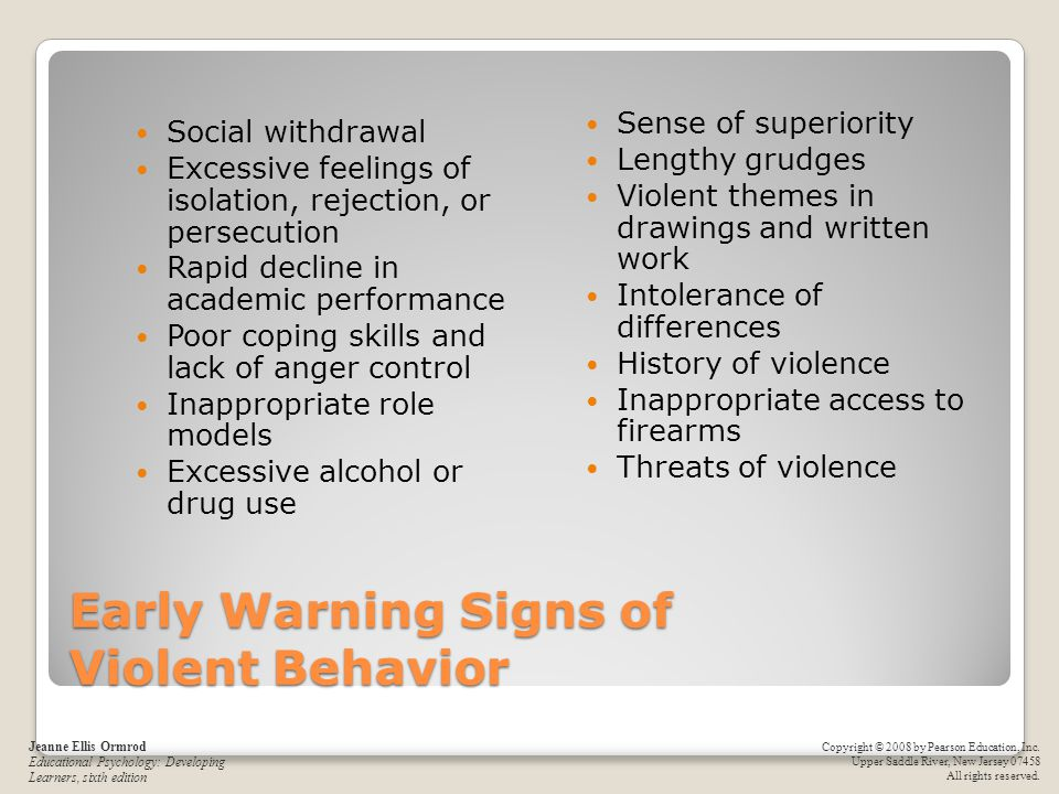 Early Warning Signs of Violent Behavior