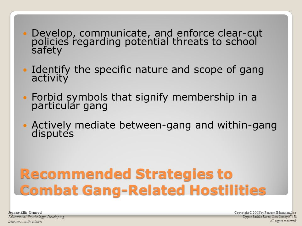 Recommended Strategies to Combat Gang-Related Hostilities