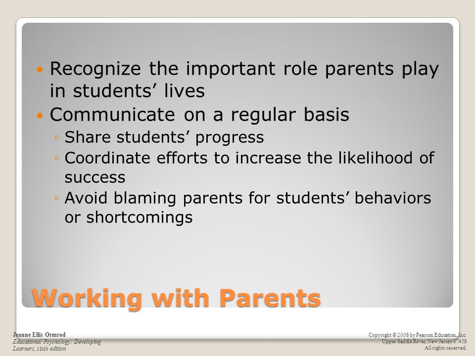Recognize the important role parents play in students' lives