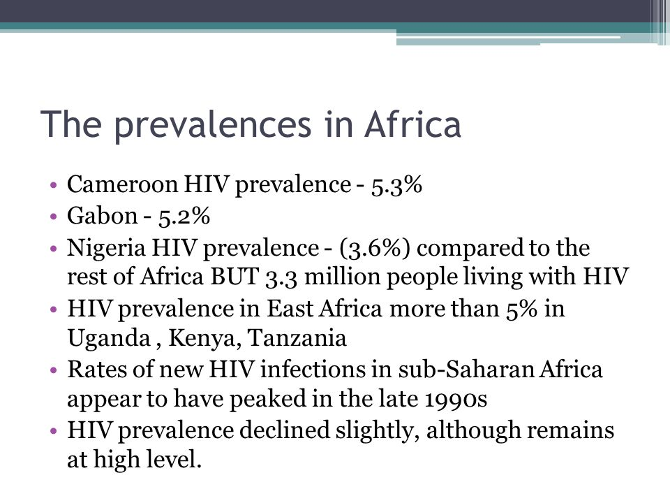 The prevalences in Africa