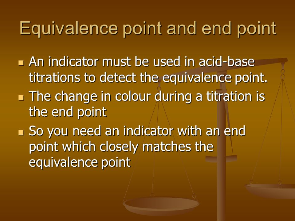Equivalence point and end point
