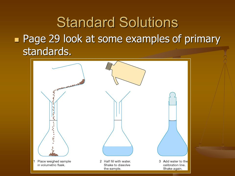 Standard Solutions Page 29 look at some examples of primary standards.