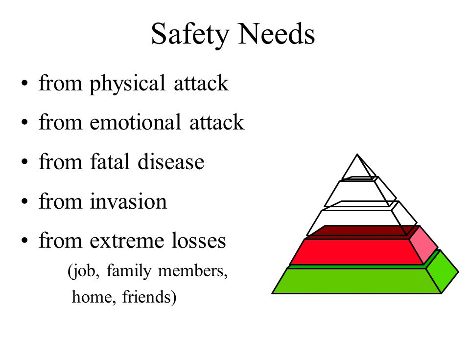 Safety Needs from physical attack from emotional attack