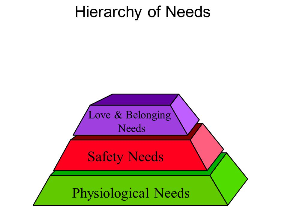 Hierarchy of Needs Safety Needs Physiological Needs Love & Belonging