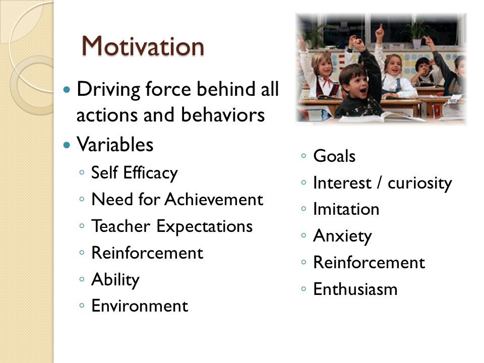Motivation Driving force behind all actions and behaviors Variables