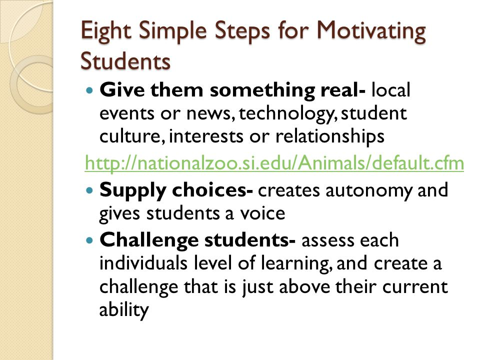 Eight Simple Steps for Motivating Students