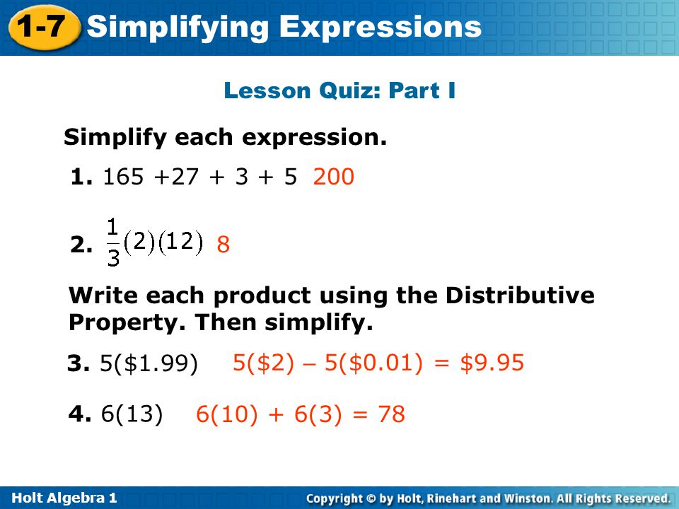 Simplifying Expressions - ppt video online download