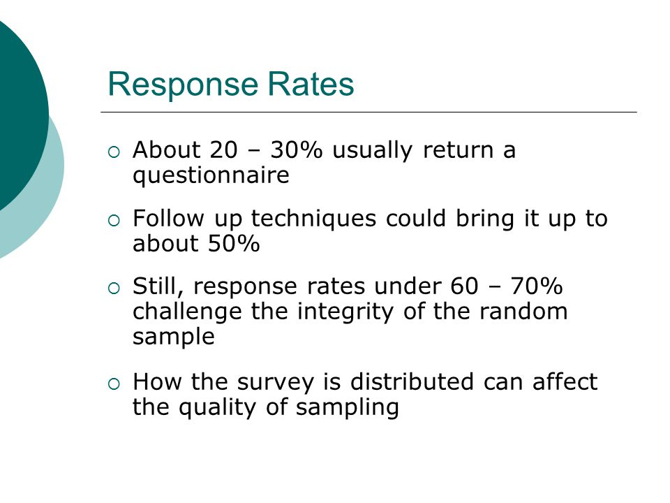 Response Rates About 20 – 30% usually return a questionnaire