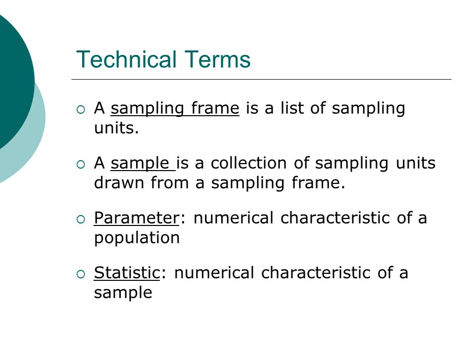 Technical Terms A sampling frame is a list of sampling units.