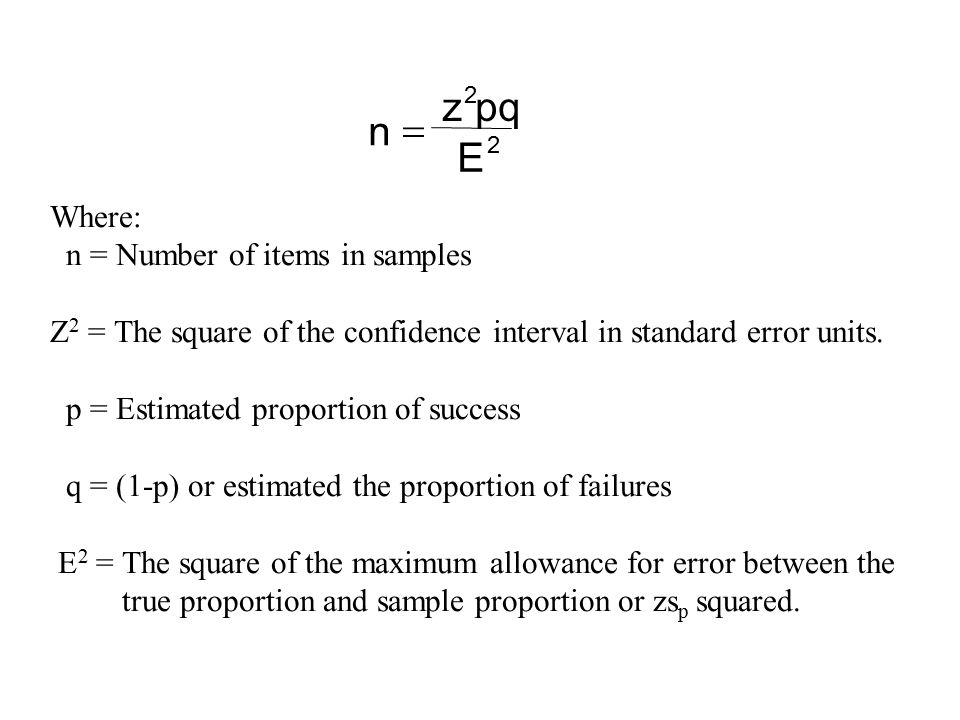 E pq z n = Where: n = Number of items in samples