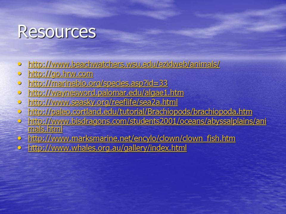 Resources http://www.beachwatchers.wsu.edu/ezidweb/animals/