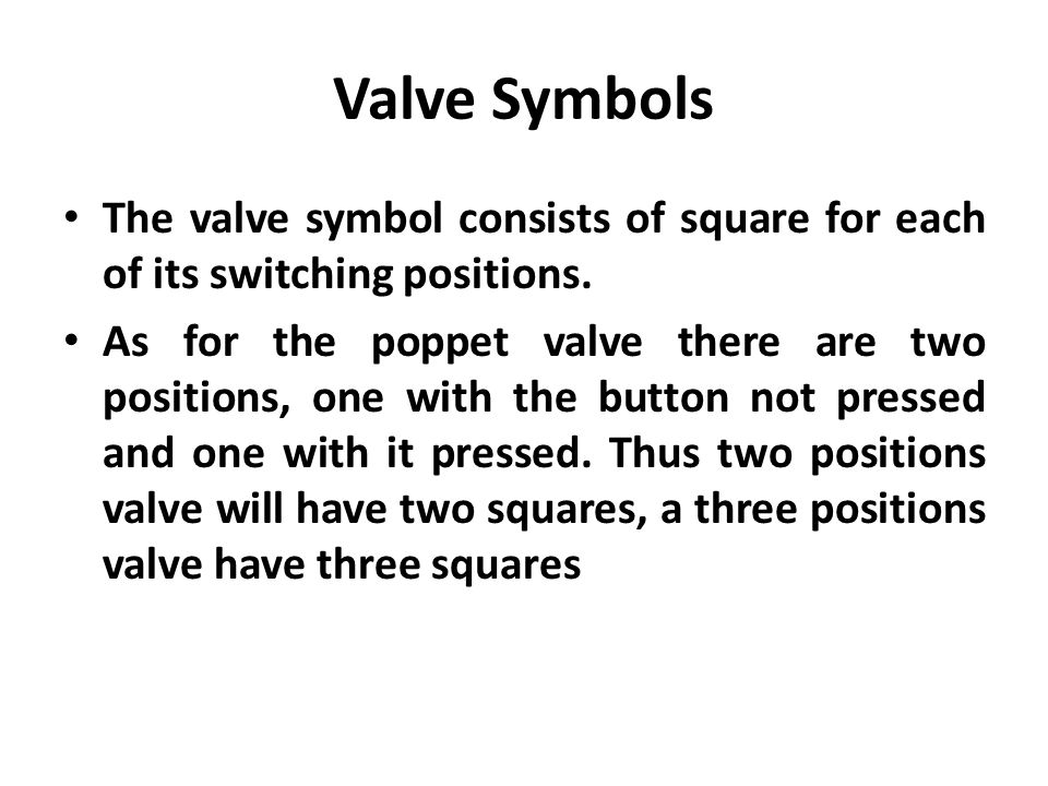 Valve Symbols The valve symbol consists of square for each of its switching positions.