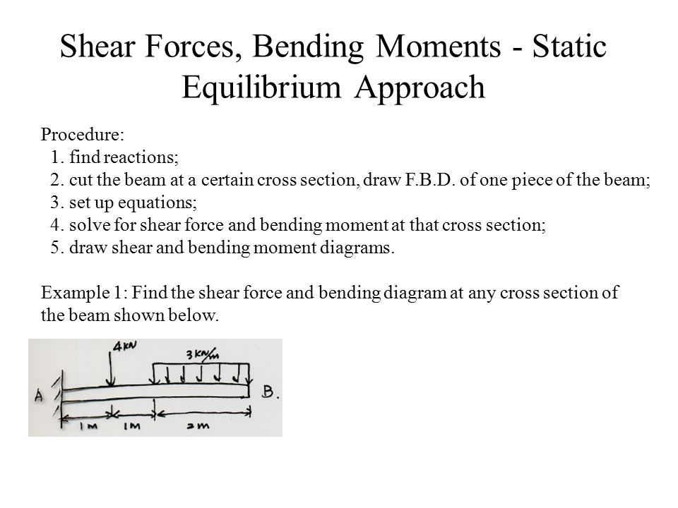 Shear Forces, Bending Moments - Static Equilibrium Approach