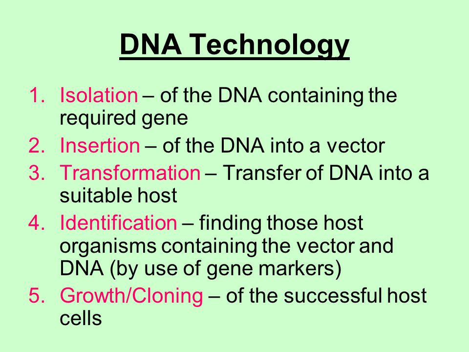DNA Technology Isolation – of the DNA containing the required gene