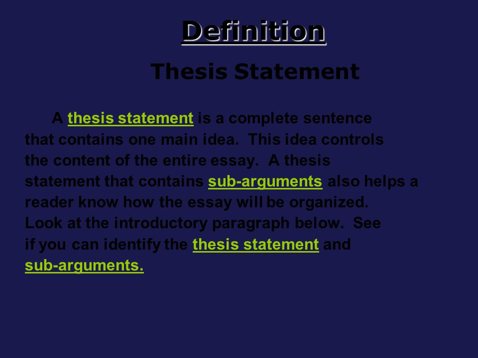 a complete the thesis statement Thesis statement guide results thesis statement model #1: sample thesis statement parents should regulate the amount of television their children watch thesis statement model #2: thesis with concession notice that this model makes a concession by addressing an argument from the opposing viewpoint first, and.