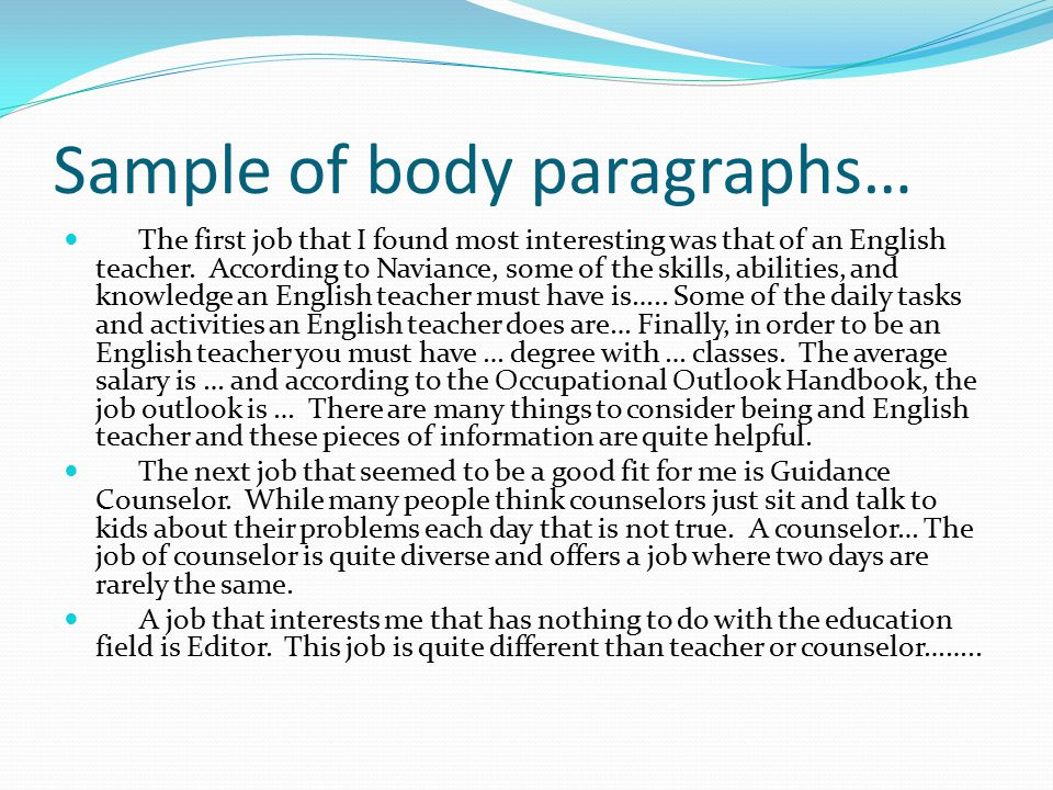 Sample of body paragraphs…