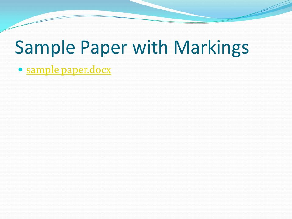 Sample Paper with Markings