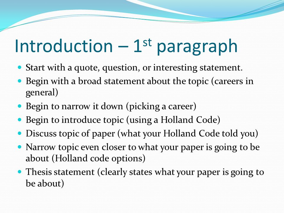 can you start your essay with a quote Like writing the title, you can wait to write your introductory paragraph until you are done with the body of the paper some people prefer to do it this way since they want to know exactly where their paper goes before they make an introduction to it.