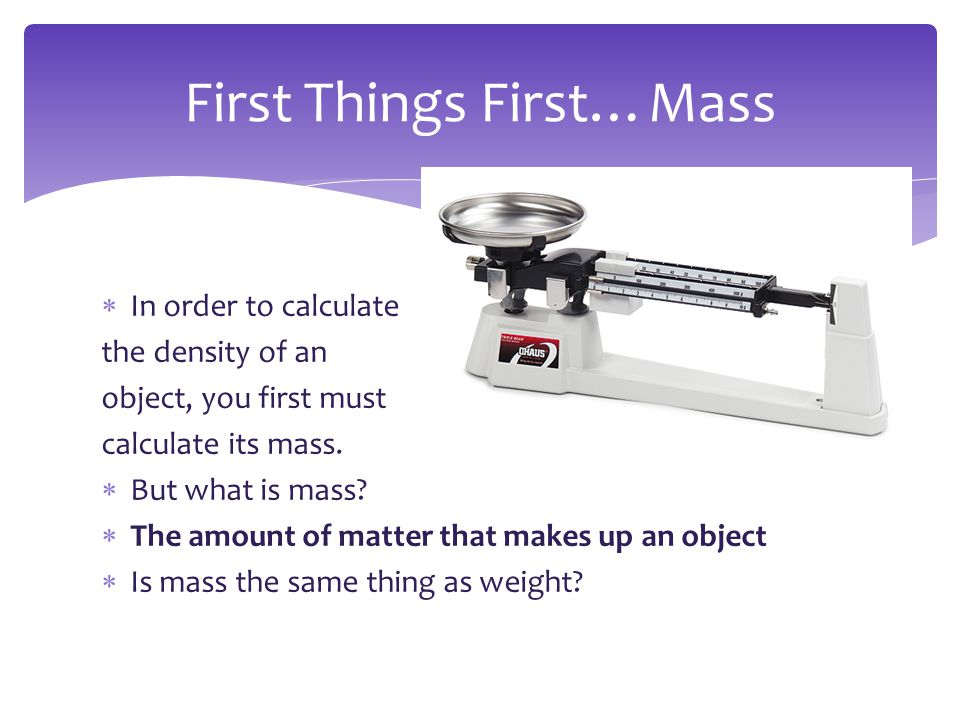 First Things First…Mass