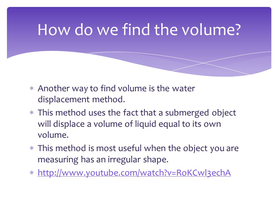 How do we find the volume