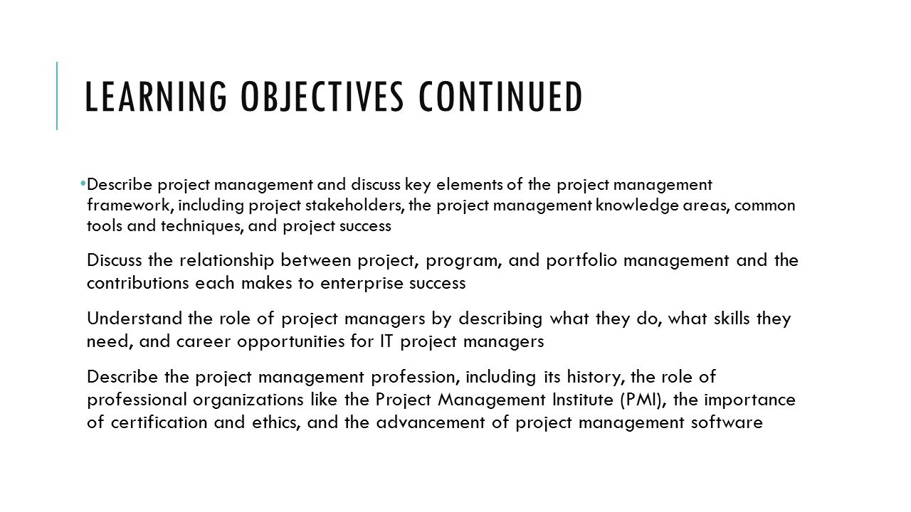 Itmg 494 businessit project management ppt download 4 learning objectives continued xflitez Images