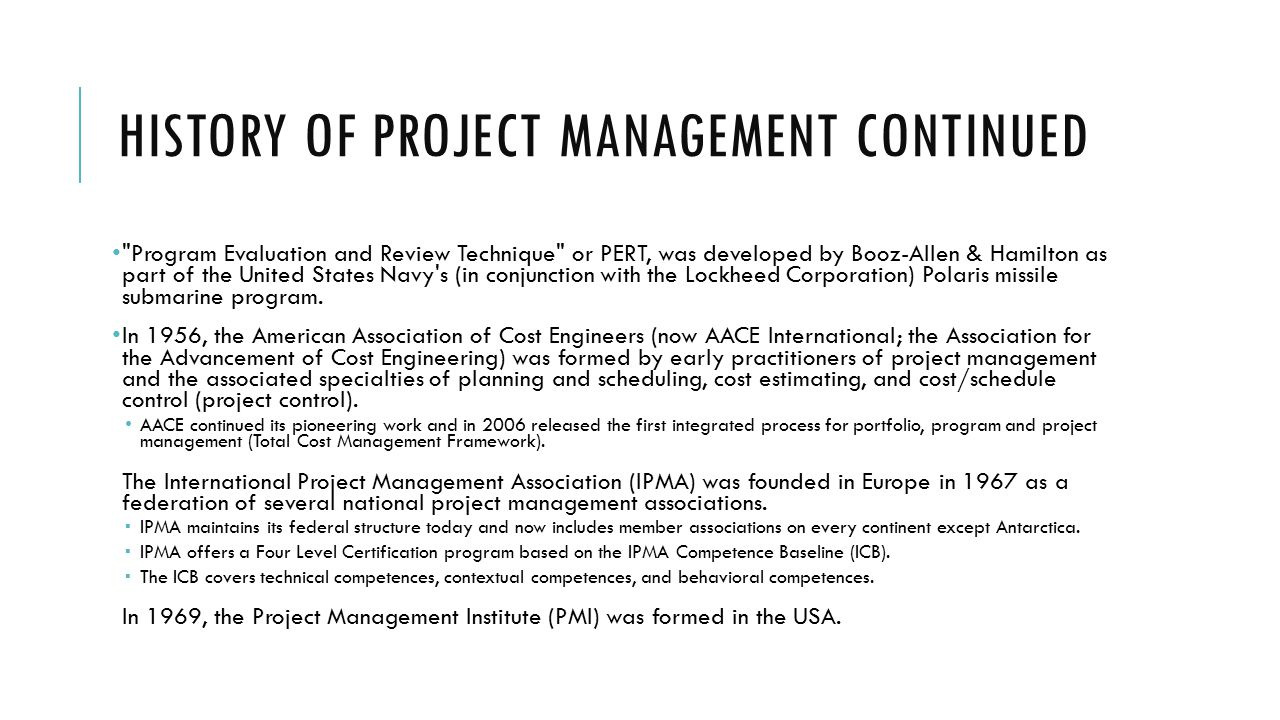 Itmg 494 businessit project management ppt download history of project management continued xflitez Image collections