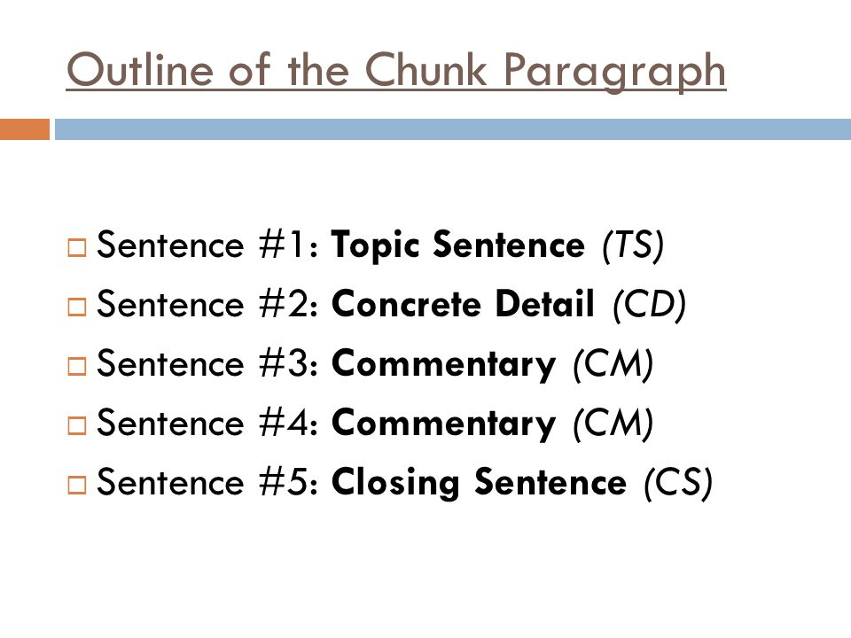 two chunk essay Body paragraph 1: discuss one 'chunk' of data body paragraph 2: discuss another 'chunk' of data if you have a third 'chunk' of data, add another paragraph paragraph structure in each body paragraph, you should start with a topic sentence, followed by one or two examples.