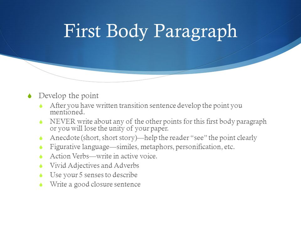how to write a good first body paragraph