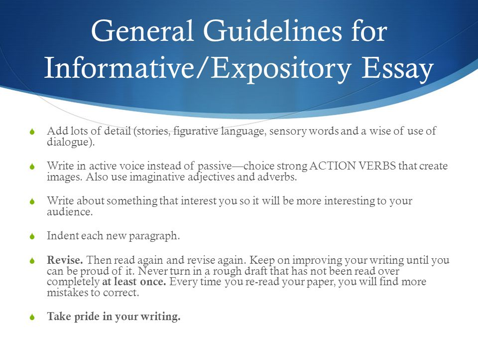 expository essay rules Over 1000 unique expository essay topics and prompts are expository essay topics expository essays are essays where professors ask their checks, he can write directions on how to do that first, a short explanation of the game should be written then the rules of the game should.