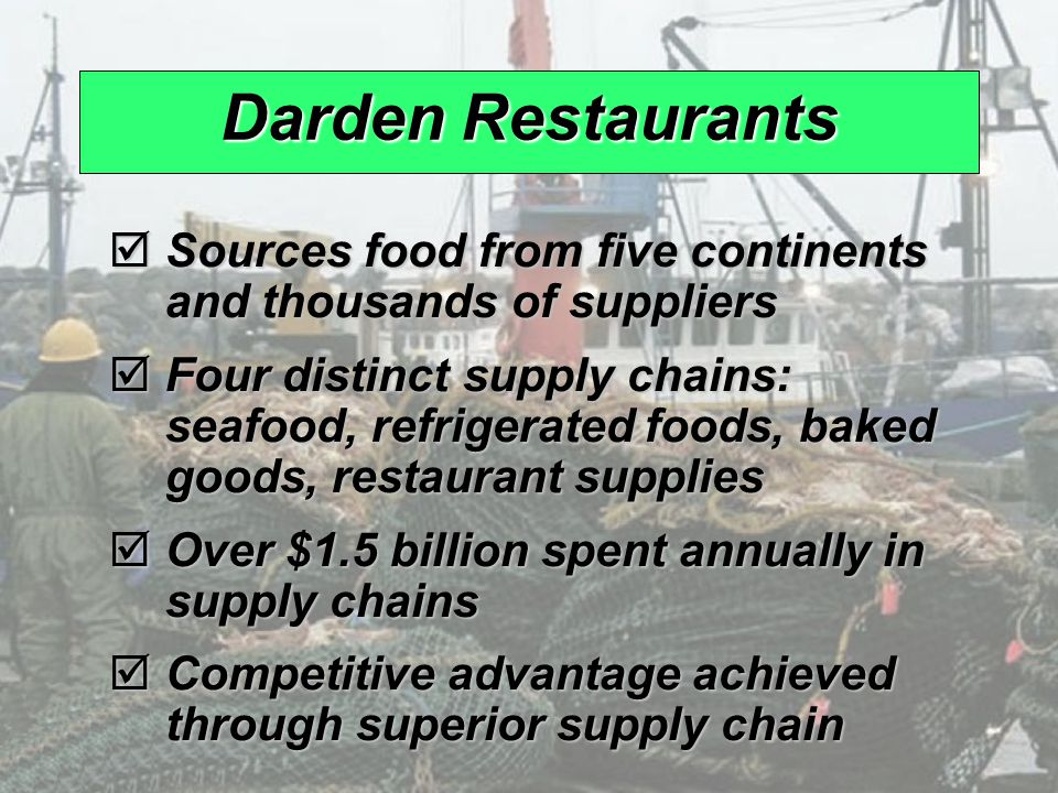 darden s four supply chains Get this answer with chegg study view this answer or find your book find your book need an extra hand browse hundreds of operations management tutors.
