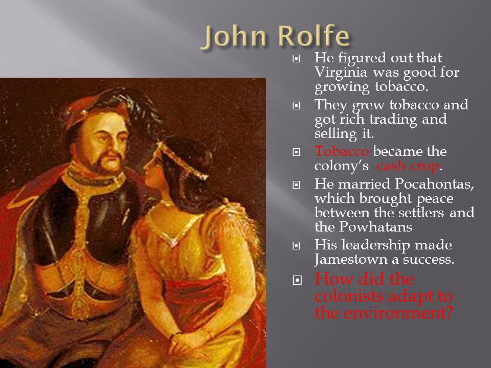 John Rolfe How did the colonists adapt to the environment