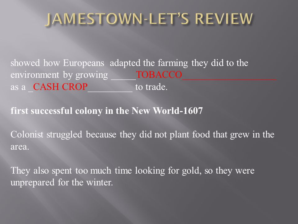 JAMESTOWN-LET'S REVIEW