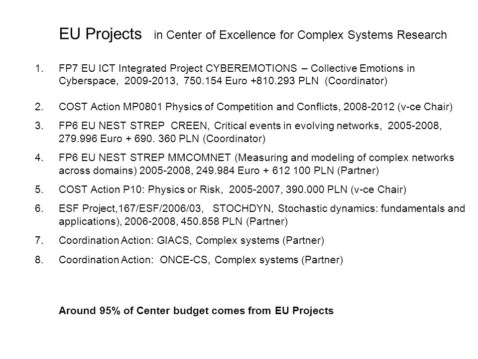EU Projects in Center of Excellence for Complex Systems Research
