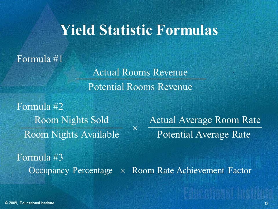 RevPAR Formulas Formula #1 Actual Room Revenue Available Rooms Formula #2 Occupancy Percentage  Average Daily Rate