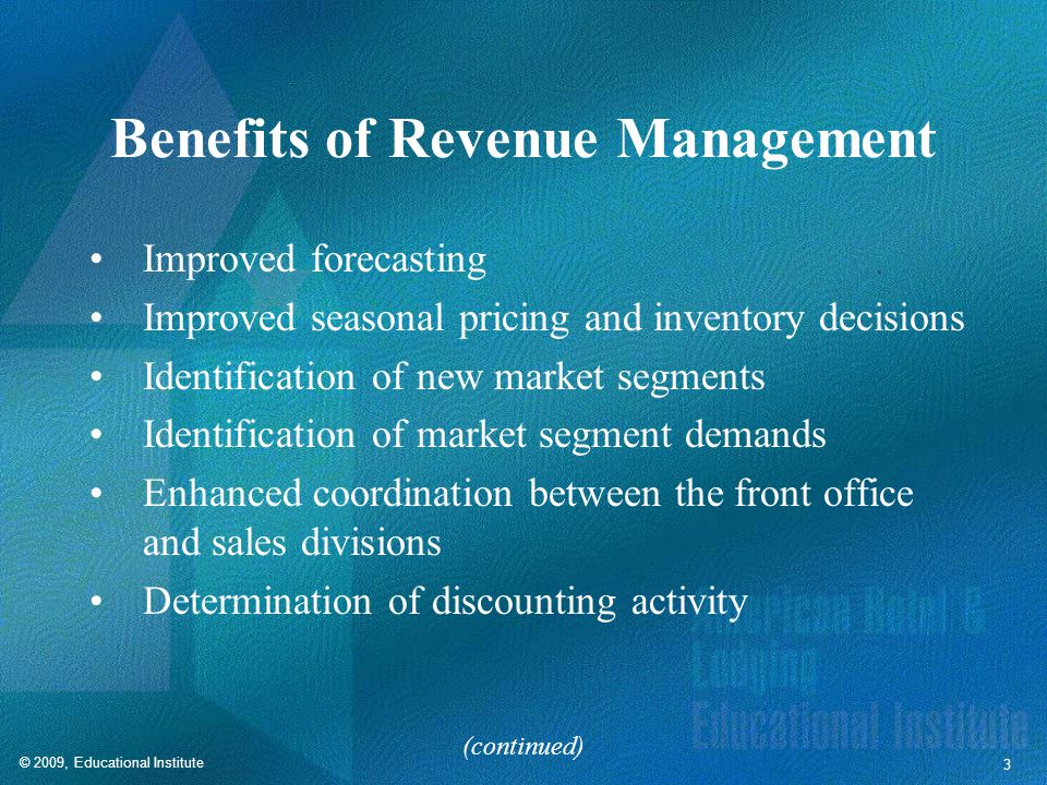 Benefits of Revenue Management