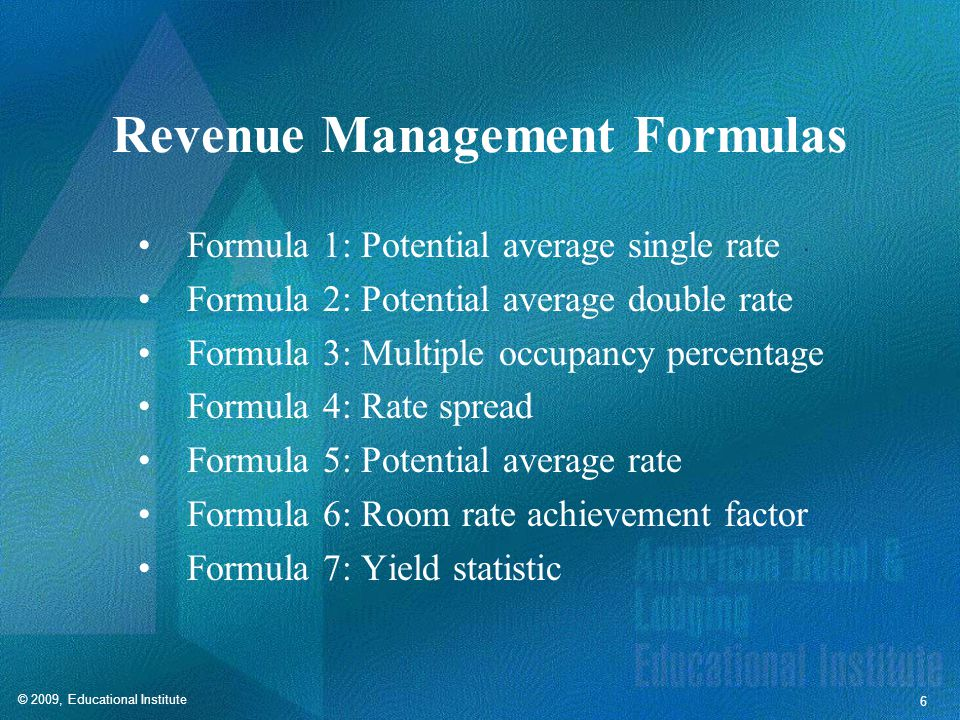 Revenue Management Formulas