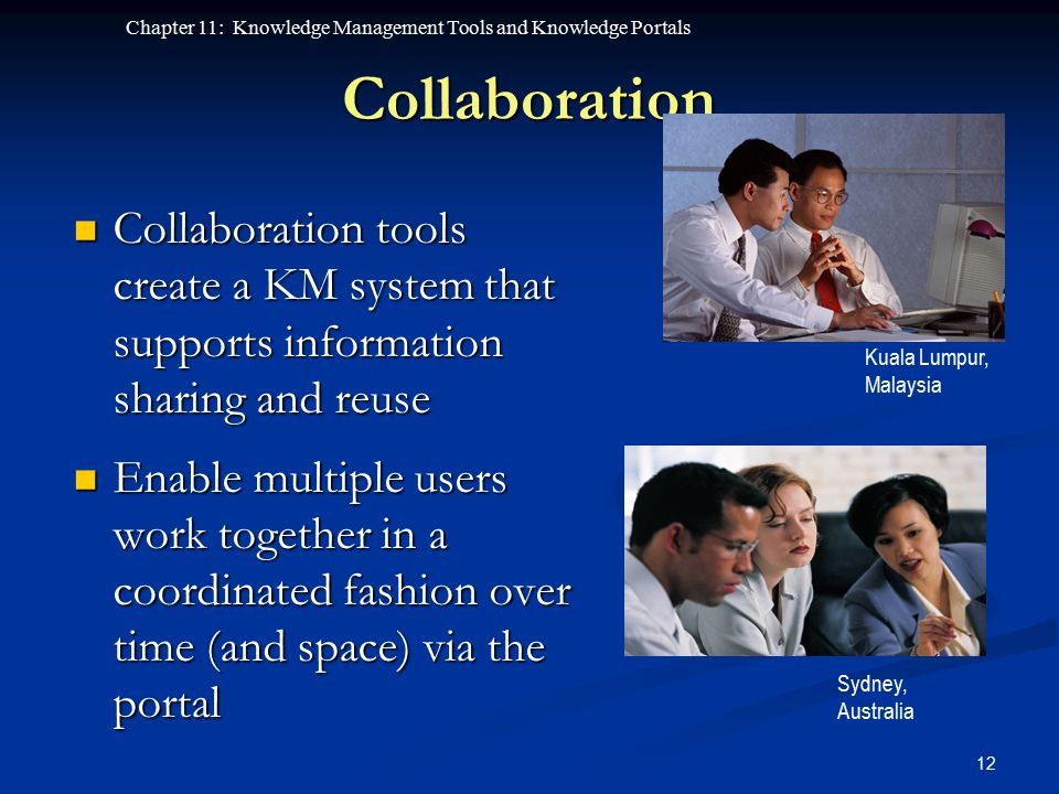 Collaboration Kuala Lumpur, Malaysia. Collaboration tools create a KM system that supports information sharing and reuse.