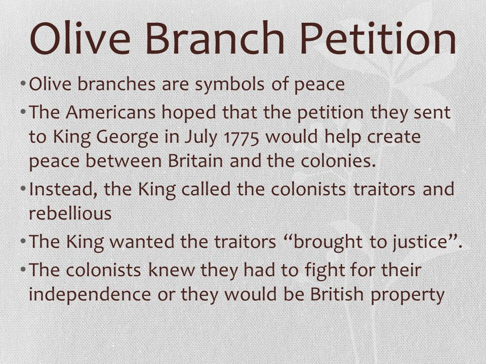 """the olive branch petition essay 1775, july 8: congress sends king george iii the """"olive branch petition,"""" drafted  by thomas jefferson, toned down by john dickinson (""""mr."""