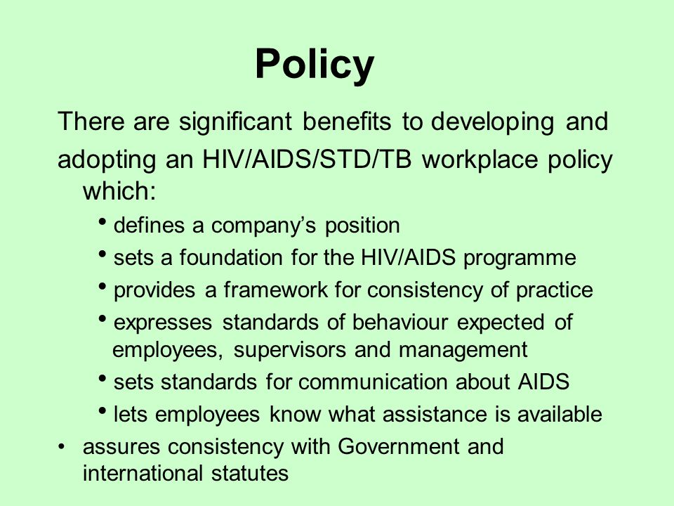 aids in the workplace managing employees with aids The many myths that surround issues of hiv/aids are due only to a lack of education - employers will find it much easier to handle such issues in the workplace if the employees are properly educated on such matters.