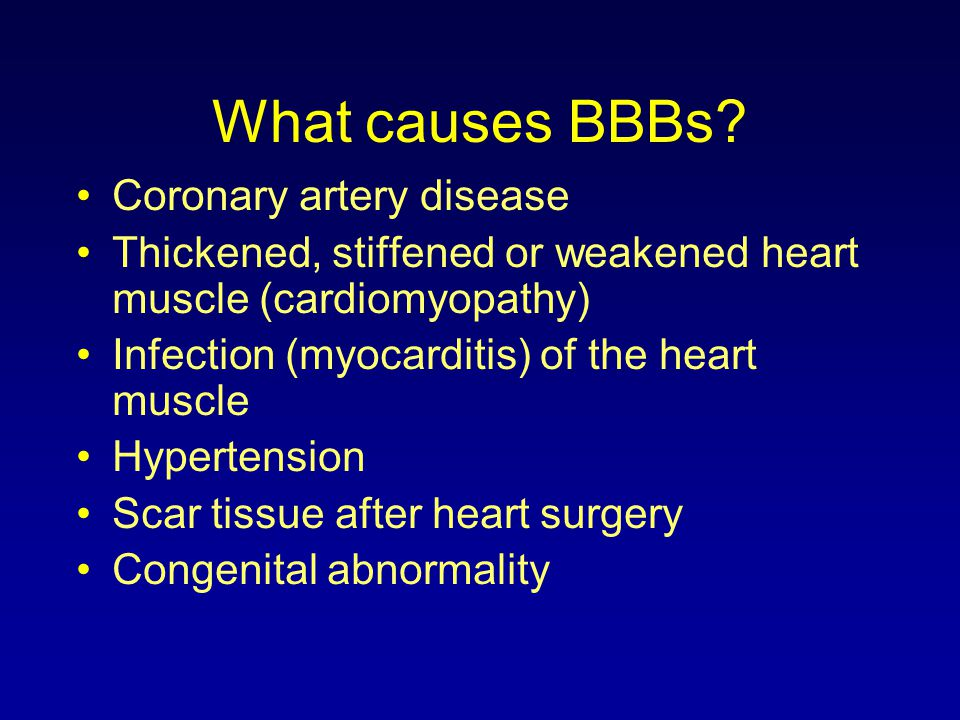 What causes BBBs Coronary artery disease