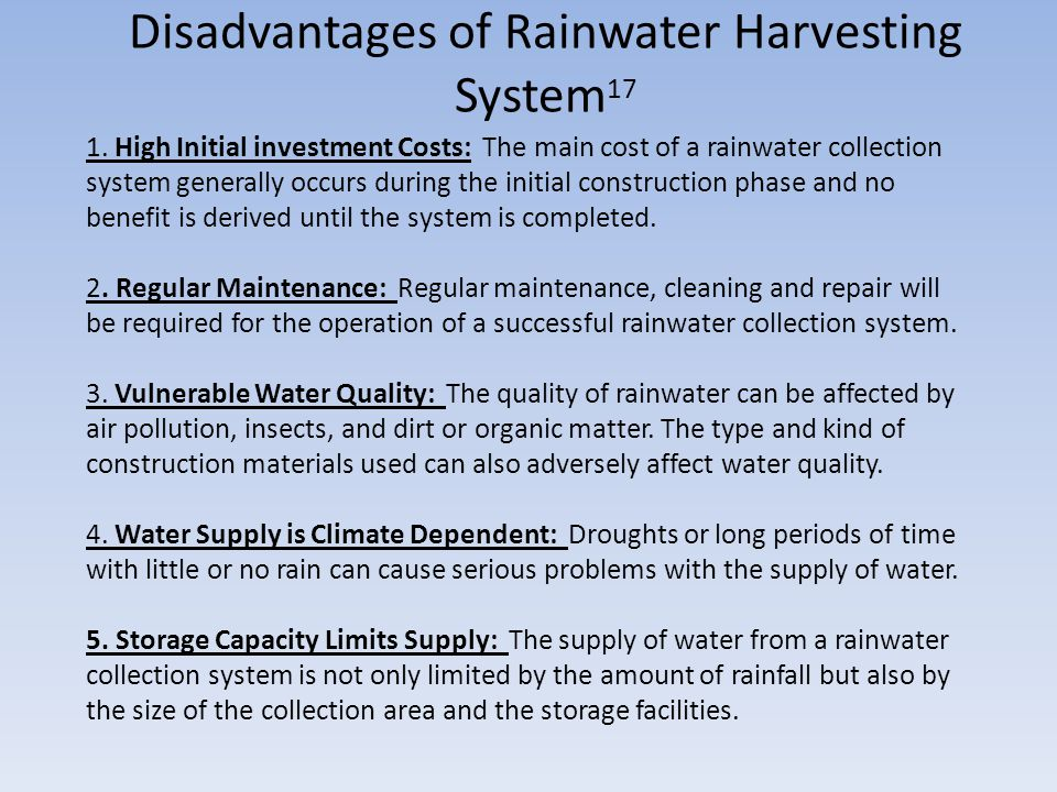 disadvantages of rain Acid rain comes in the form of rain, fog, smog and dry depositions, and it harms forests, kills fish and erodes rocks and buildings it is caused by excessive.